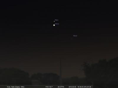 Venus Mars Mond Konstellation am 20.02.15 18Uhr30