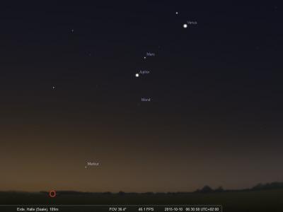 Himmelsanblick am 10. Oktober 2015 Richtung Osten, um 6:30 Uhr